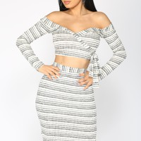 Let Me Love Ya Stripe Set - Grey/White