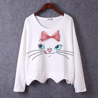 Bow Cat Print T-shirt