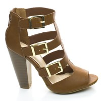 Mash13 Chestnut By Bamboo, Peep Toe Stacked Chunky Heel Zipper Triple Buckle Strappy Sandals