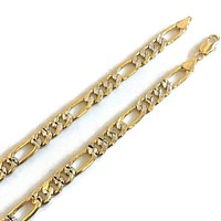 7mm Figaro Lobster 2 Tones 18Kts Gold Plated Chain