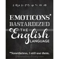 English Teacher Chalkboard Print Grammar Emoticon Geekery Gifts for Teachers Classroom Poster Typographic Print Office Decor Editor Writer