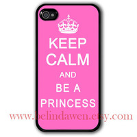iphone 4 case, iphone 4s case, Keep Calm and be a princess, Painting black hard case, pink iphone case