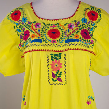 Vintage Yellow Mexican Hippie Peasant Dress S/M