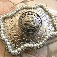 Navy Silver Pearl Belt Buckle , Western Armed Forces Military US Navy Belt, USN Navy Wife Girlfriend Mom Military Belt Buckle, Navy Wedding