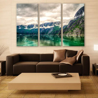 Tracy Arm Fjord Alaska Canvas Print 3 Panels Print Wall Decor Fine Art Nature Photography Repro Print for Home and Office Wall Decoration