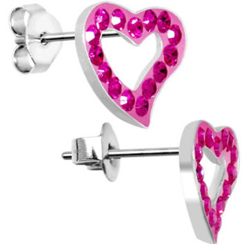 13mm Pink Heart Crystal Stud Earrings MADE WITH SWAROVSKI ELEMENTS | Body Candy Body Jewelry