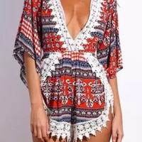 Tribal Retro Print Lace Accent Rompers