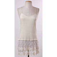 Natural Camisole Slip or Top Extender with Lace Trim