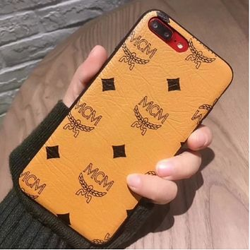 Gucci & MCM Trend IPhoneX full package phone case 7/8Plus mobile phone leather iphone6s with a sling shell  Khaki