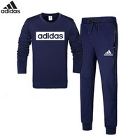 ADIDAS autumn and winter new casual men's sportswear plus velvet warm two-piece Blue