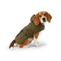 QUILTED HOODED DOG COAT