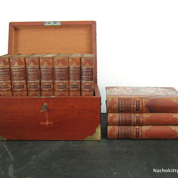 1880s 10 Book Set Emersons Works Leather Bound, Ridgely Estate Baltimore