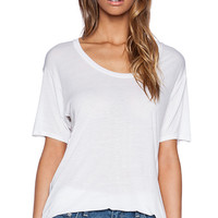 Enza Costa Shortsleeve Scoop Tunic in White
