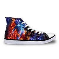 Classic Leisure High-Top Star Canvas Shoes Punk Fire Skull Horse Design Casual Shoes Fashion Women Vulcanized Shoes