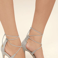 Dani Grey Suede Lace-Up Heels