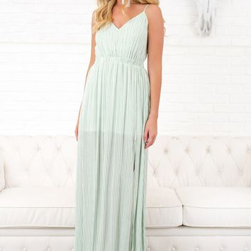 Made For Me Striped Maxi (Sage/White)