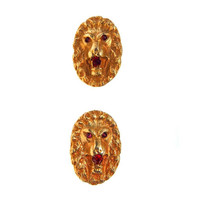 Antique Ruby Jeweled Lion Face Victorian Cufflinks