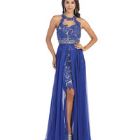 Royal Illusion High Low Embroidered Halter Dress 2015