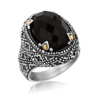 18K Yellow Gold and Sterling Silver Vintage Inspired Black Onyx Embellished Ring: Size 9