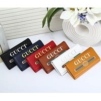 Gucci Fashion Trending Casual Women Men Casual Letter Print Leather Purse Wallet Black G