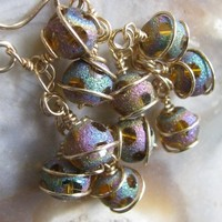 Shimmering Glass Earrings, Peacock Colors, 14K Gold Filled Wire Wrap