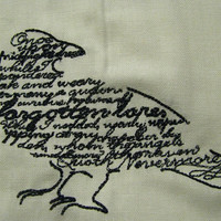 Edgar Allan Poe Raven Poem Embroidered by EmbroideryEverywhere