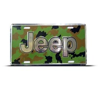 Jeep Car Auto License Plate Wall Sign Tag Camouflage Background Jeep Camo