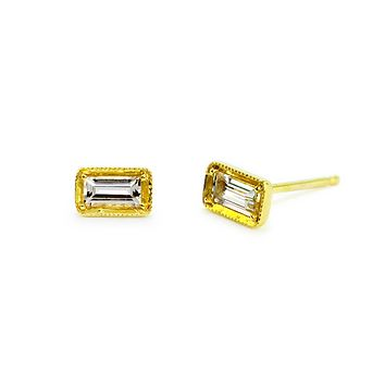 Leone Baguette White Sapphire Earrings