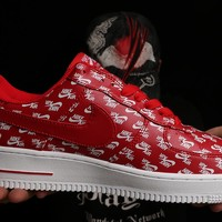 Nike Air Force 1 One 07 QS LOGO PRINT Red / White