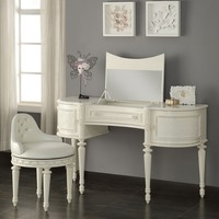 2 pc Dorothy collection ivory finish pearl white wood bedroom make up dressing vanity with mirror and stool