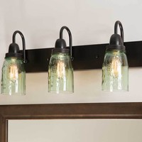 Primitive Country Style Mason Jar Vanity Three Lamp Wall Fixture Lighting