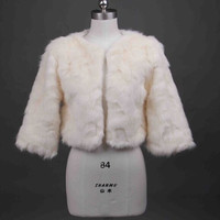 Ivory Bridal Faux Fur Wrap Shrug Bolero Jacket bride wedding accessories coat jacket (Color: Ivory) = 1929577412