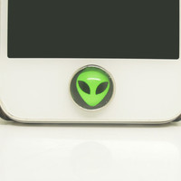 1PC Glass Epoxy Alien Alloy Cell Phone Home Button Sticker Charm for iPhone 6,4s,4g,5,5c Kids Gift