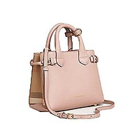 Tote Bag Handbag Authentic Burberry The Baby Banner in Leather and House Check Ink Tan Item 40140791