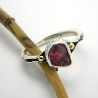 Ruby ring sterling silver and gold solitaire