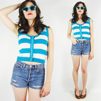 vtg 80s 90s new wave turquoise blue STRIPED print button up CROPPED crop slouchy SLEEVELESS knit sweater vest tank top S M