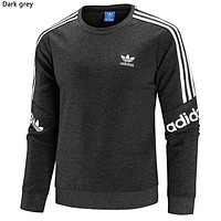 ADIDAS Tide brand cotton men and women wild round neck long-sleeved sweater dark grey