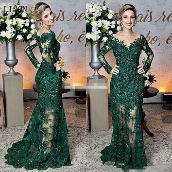 Sparkly Wedding Dresses Long Illusion Sleeve Vintage Dark Green Mother of The Bride Dresses Lace Appliques Mermaid Formal Gowns