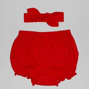 Bright Red Baby Bloomers and Headband Set, Baby Knot Headband, Baby Girl Bloomers Set, Red Girls Bloomer