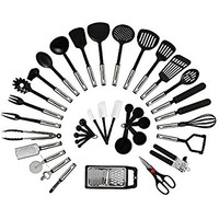 26 Piece Kitchen Utensils Set & Cooking Tools, Stainless Steel & Nylon Gadgets, Includes Turner, Tong, Spatula, Pie Server, Pizza Cutter, Whisk, Grater, Peeler, Can Opener, Measuring Cups & Spoons