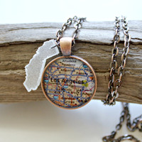 California Los Angeles Necklace Combo Map Pendant and Resin State Charm with 24 Inch Necklace Chain and Gift Box