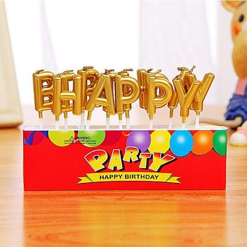 Happy Birthday Candles Wedding Anniversary Cake Candles I Love You Letter Candles Party Supplies