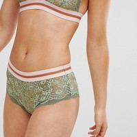 ASOS Izzy Contrast Elastic Lace French Underwear at asos.com