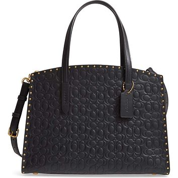 COACH Women's Black Logo Embossed Studded Leather Tote Bag,