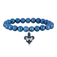 Stretchable Pearl Bracelet with a Blue Sapphire Studded Fleur De Lis Charm in Rhodium Plated Sterling Silver