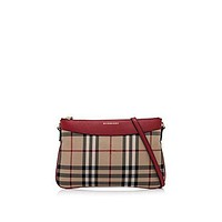 Burberry Women's Horseferry Check Peyton Clutch Bag Red