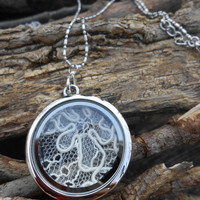 ONE Wedding Dress Lace Locket Necklace. Bridesmaid Gift, Mom Gift. Memory Locket. Custom Orders Welcome.