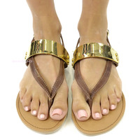 Hardware Monticello Cognac Brown Gold Metal Plate Sandals