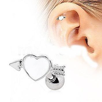 316L Surgical Steel Arrow Through Your Heart Cartilage Earring