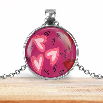 Valentine's pendant necklace, pink with hearts, choice of silver or bronze, key ring option